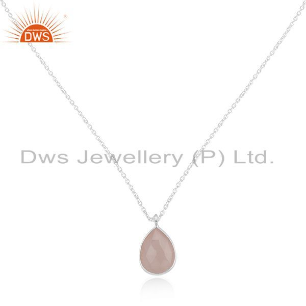 Rose Chalcedony Gemstone 925 Silver Chain Pendant Manufacturers