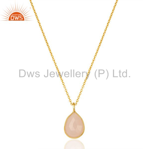 Rose chalcedony drop chain 14k gold plated 92.5 sterling silver pendant