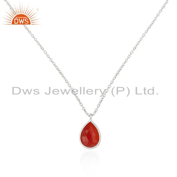 Handmade 92.5 Sterling Fine Silver Chain Red Onyx Gemstone Pendant Wholesale