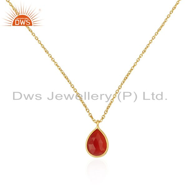 Red Onyx Gemstone Gold Plated 925 Sterling Silver Chain Pendant Manufacturers