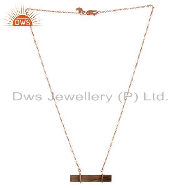 18K Rose Gold Plated Sterling Silver Flat Labradorite Chain Pendant Necklace