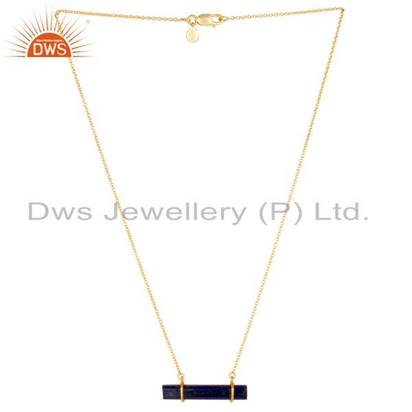 18K Gold Plated 925 Sterling Silver Flat Lapis Lazuli Chain Pendant Necklace