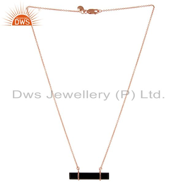 18k rose gold plated 925 sterling silver flat black onyx chain pendant necklace