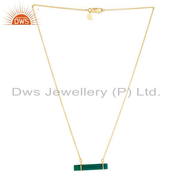 18K Gold Plated 925 Sterling Silver Flat Green Onyx Chain Pendant Necklace