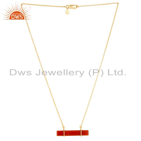 Red onyx faceted cut long baguette gold plated sterling silver pendent