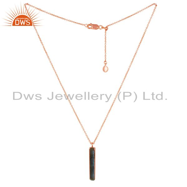 Natural Labrodorite Long Faceted Beguette Gold Plated Silver Chain Pendent