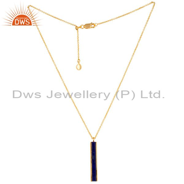 Natural Lapis Long Faceted Beguette Gold Plated Silver Chain Pendent