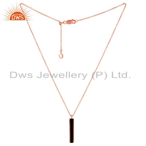Black Onyx Long Faceted Beguette Rose Gold Plated Silver Chain Pendent