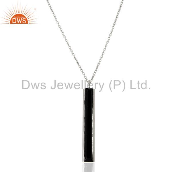 Black onyx gemstone 925 silver chain pendant manufacturers from india
