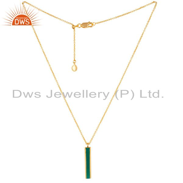 Green Onyx Long Faceted Beguette Gold Plated Silver Chain Pendent