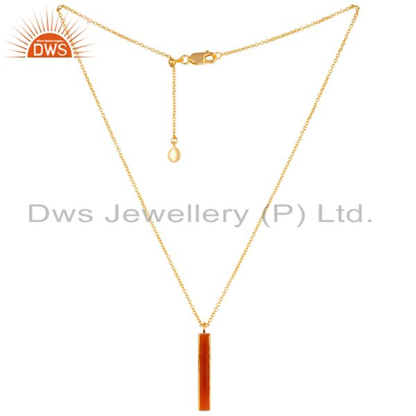 Red Onyx Long Faceted Beguette Gold Plated Silver Chain Pendent