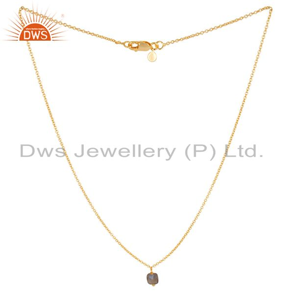 Natural labrodorite 5 mm cushion briolette gemstone gold plated chain pendent