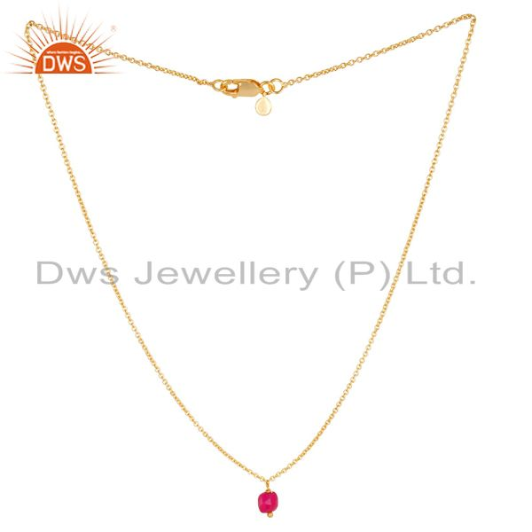 Pink chalcedony  5 MM Cushion Briolet Gemstone Gold Plated Silver Chain Pendent