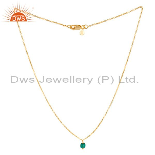 Green Onyx 5 MM Cushion Briolet Gemstone Gold Plated Silver Chain Pendent