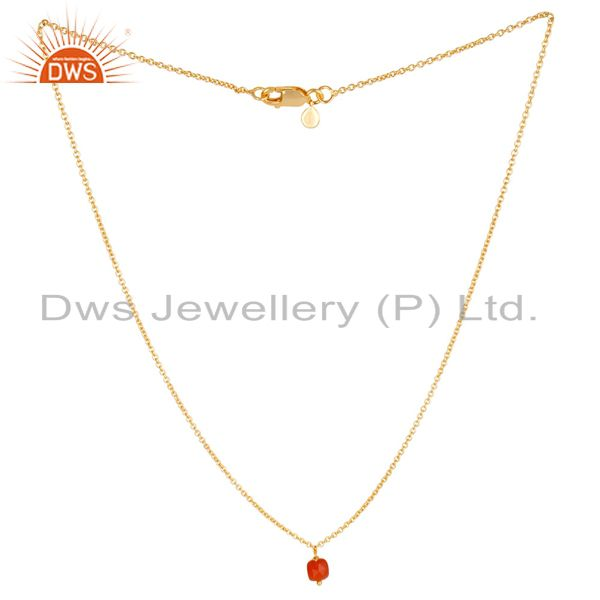 Red onyx 5 mm cushion briolette gemstone gold plated silver chain pendent