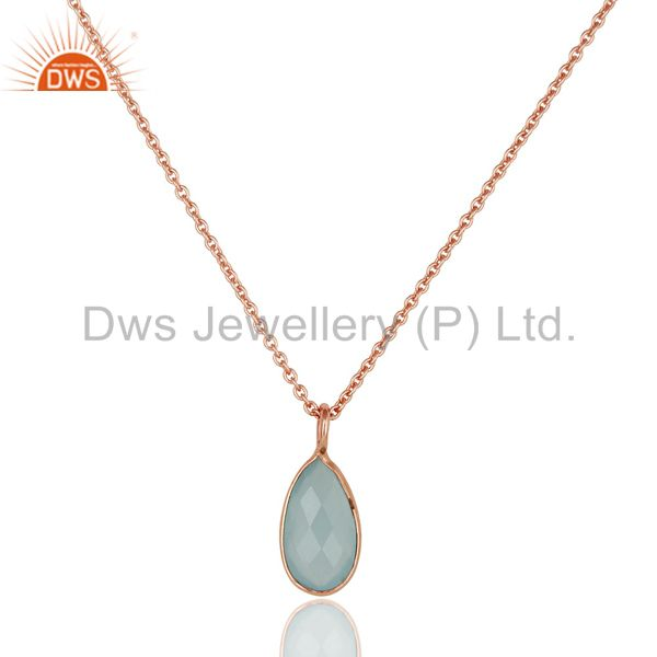 Blue Auqa Glass Gemstone Pendant Jewelry With 18k Rose Gold GP Chain Necklace
