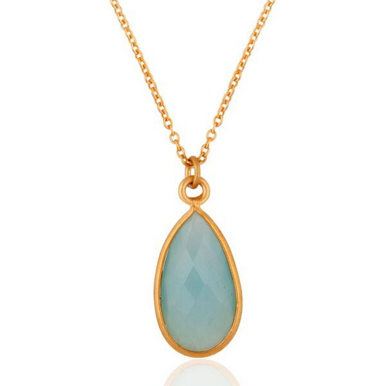 Blue Auqa Glass Gemstone Pendant Jewelry With 18k Gold GP Chain Necklace