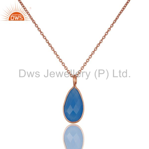 18K Rose Gold Plated Blue Chalcedony Bezel Set Drop Pendant With 16
