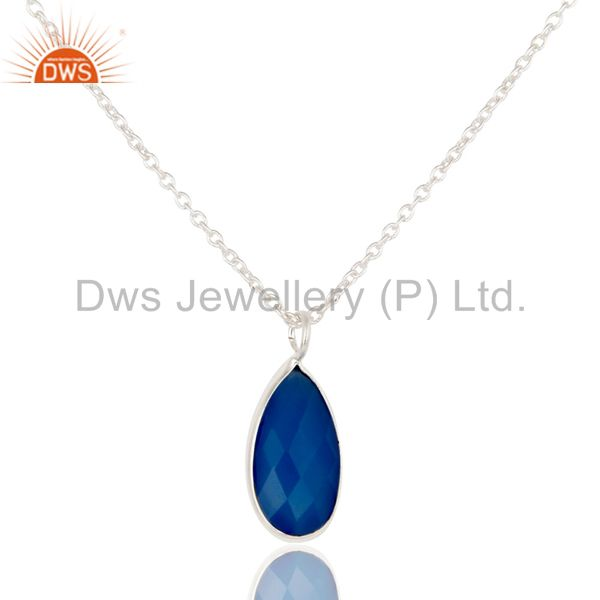 Solid Silver Plated Blue Chalcedony Bezel Set Drop Pendant With 16