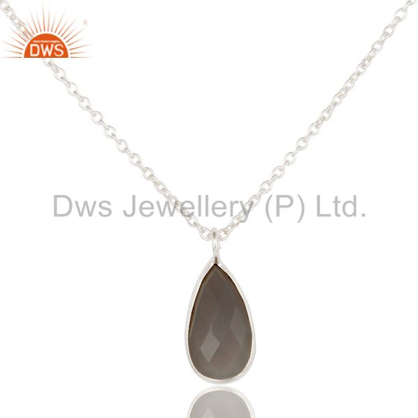 Solid Silver Plated Handmade Dyed Chalcedony Bezel Set Chain Pendant Necklace