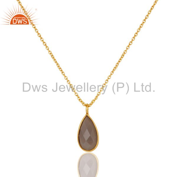 22K Yellow Gold Plated Handmade Dyed Chalcedony Bezel Set Chain Pendant Necklace