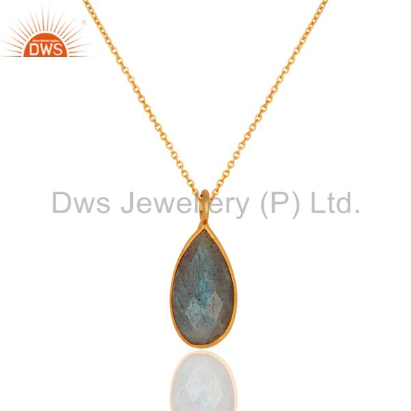 Faceted Labradorite Gemstone Bezel Set Drop Pendant With 18K Gold Plated