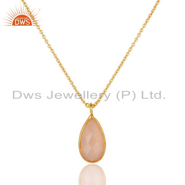 18k yellow gold plated dyed chalcedony gemstone bezel set chain pendant jewelry