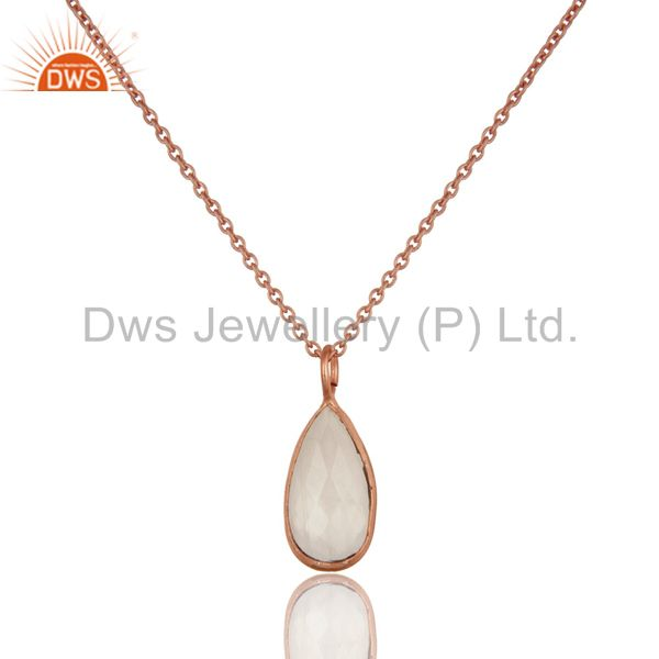 18k rose gold plated rainbow moonstone bezel set drop pendant with chain