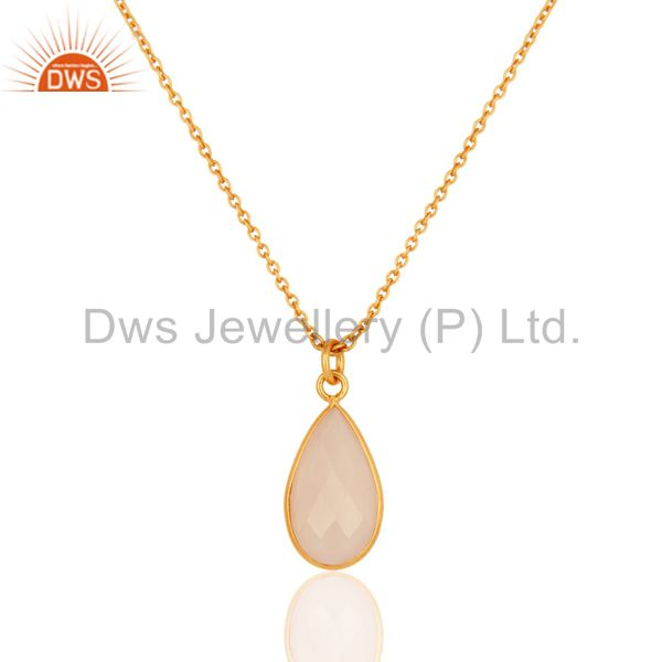 Rose Quartz Faceted Pear Shape Gemstone Pendant 24k Yellow Gold Plated Necklace