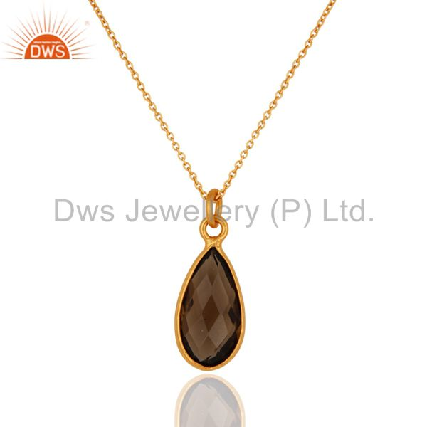 Natural Smoky Quartz Faceted Pendant Necklace In 18K Yellow Gold Over Brass