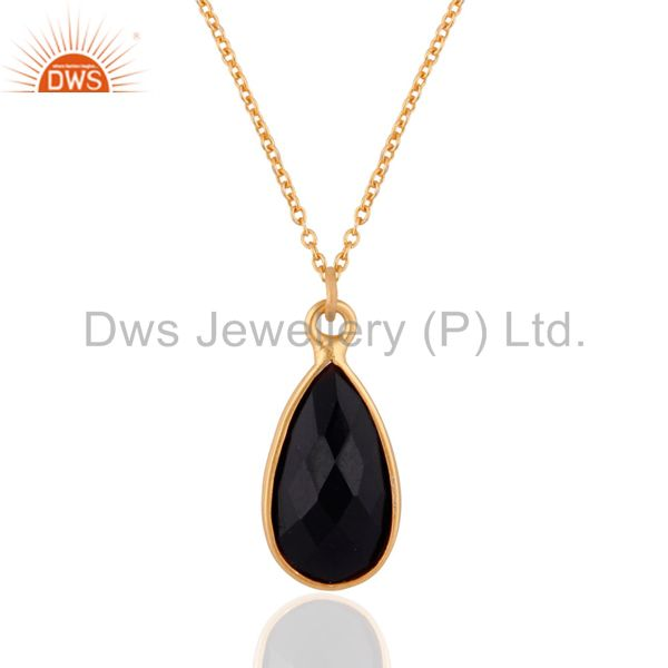 18k Gold Plated Black Onyx Bazel Set Brass Pendant With Chain