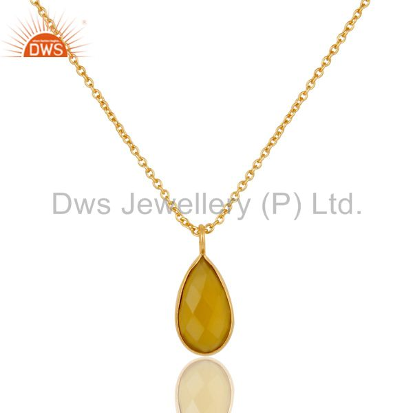 18K Yellow Gold Plated Dyed Chalcedony Bezel Set Brass Chain Pendant Necklace