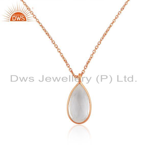 Crystal Quartz Rose Gold Plated 925 Silver Chain Pendant Manufacturer India