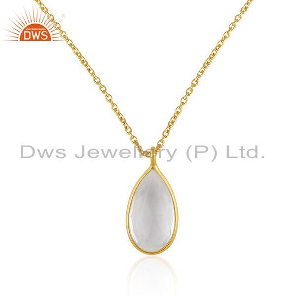 Gold Plated 925 Silver Crystal Quartz Gemstone Pendant Wholesaler India