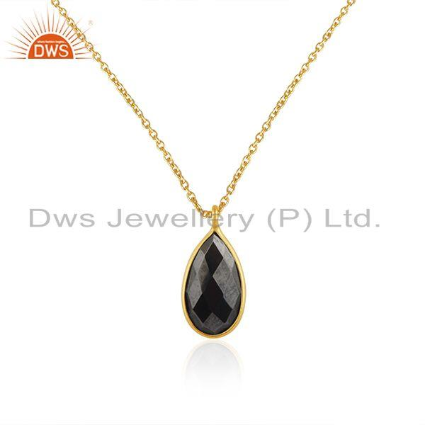 Hematite Gemstone Yellow Gold Plated 925 Silver Chain Pendant Wholesale