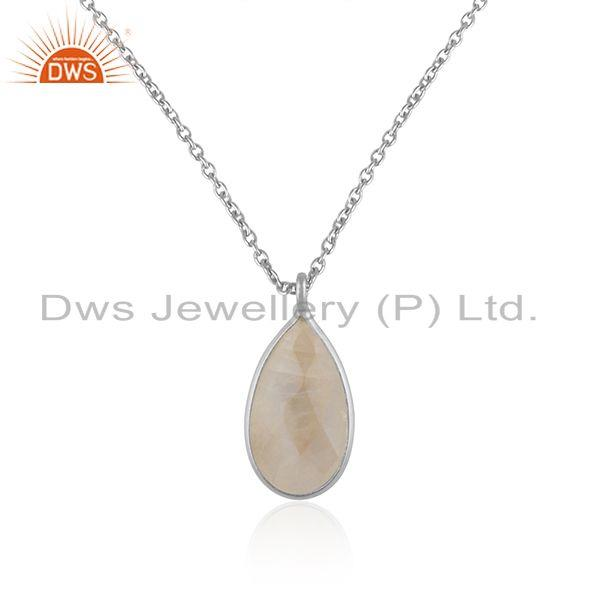 Rainbow Moonstone Fine Sterling Silver Chain Pendant Manufacturer Jaipur
