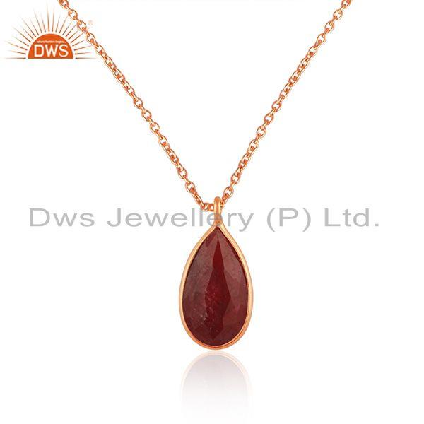 Corundum Ruby Gemstone Rose Gold Plated 925 Silver Chain Pendant Wholesale