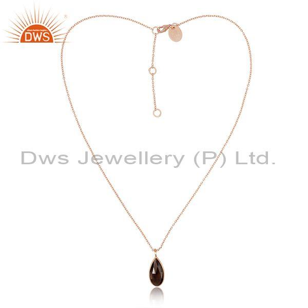 Pear cut smoky set pendant and rose gold on 925 silver chain