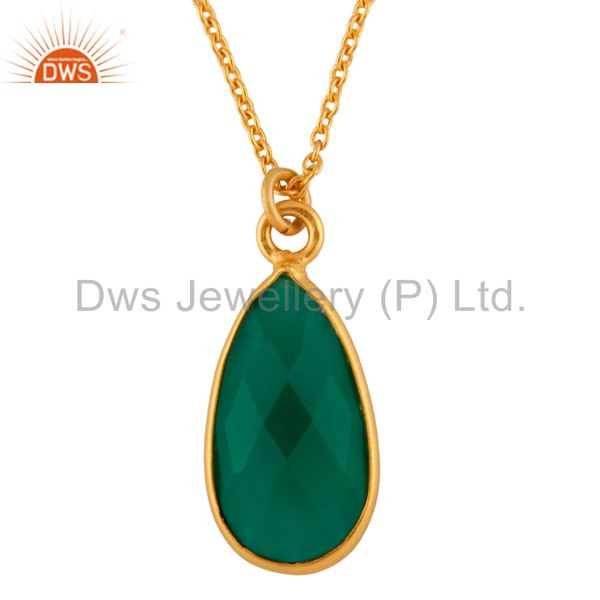 18K Yellow Gold Plated Sterling Silver Green Onyx Drop Pendant With Chain
