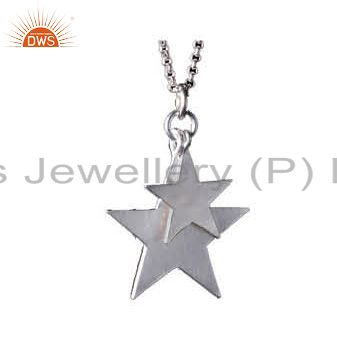 925 Sterling Silver Star Charm Pendant With Chain Necklace