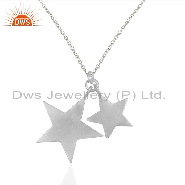 925 Solid Sterling Silver Star Design Charm Pendant With Chain