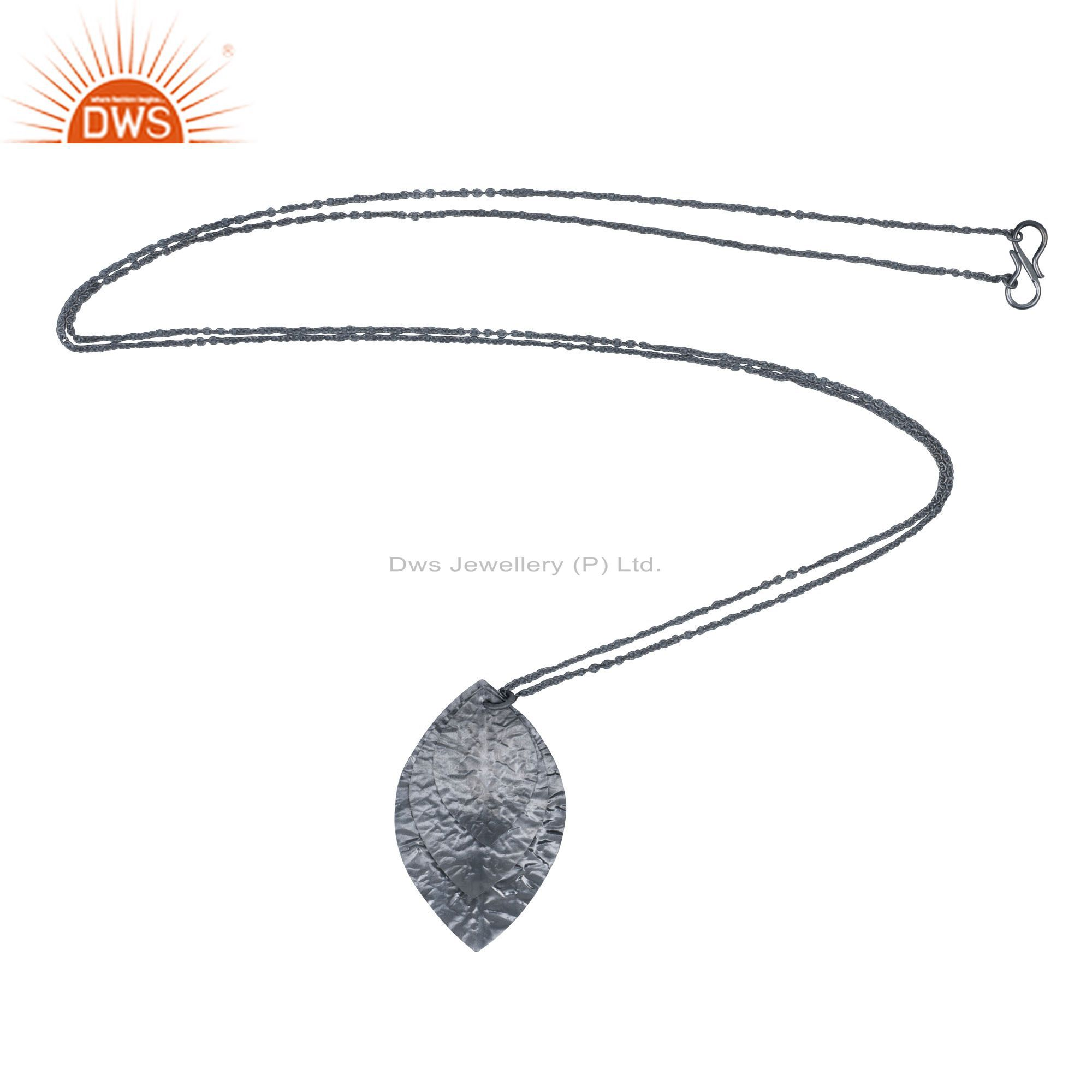 Oxidized solid sterling silver three petal pendant with chain necklace