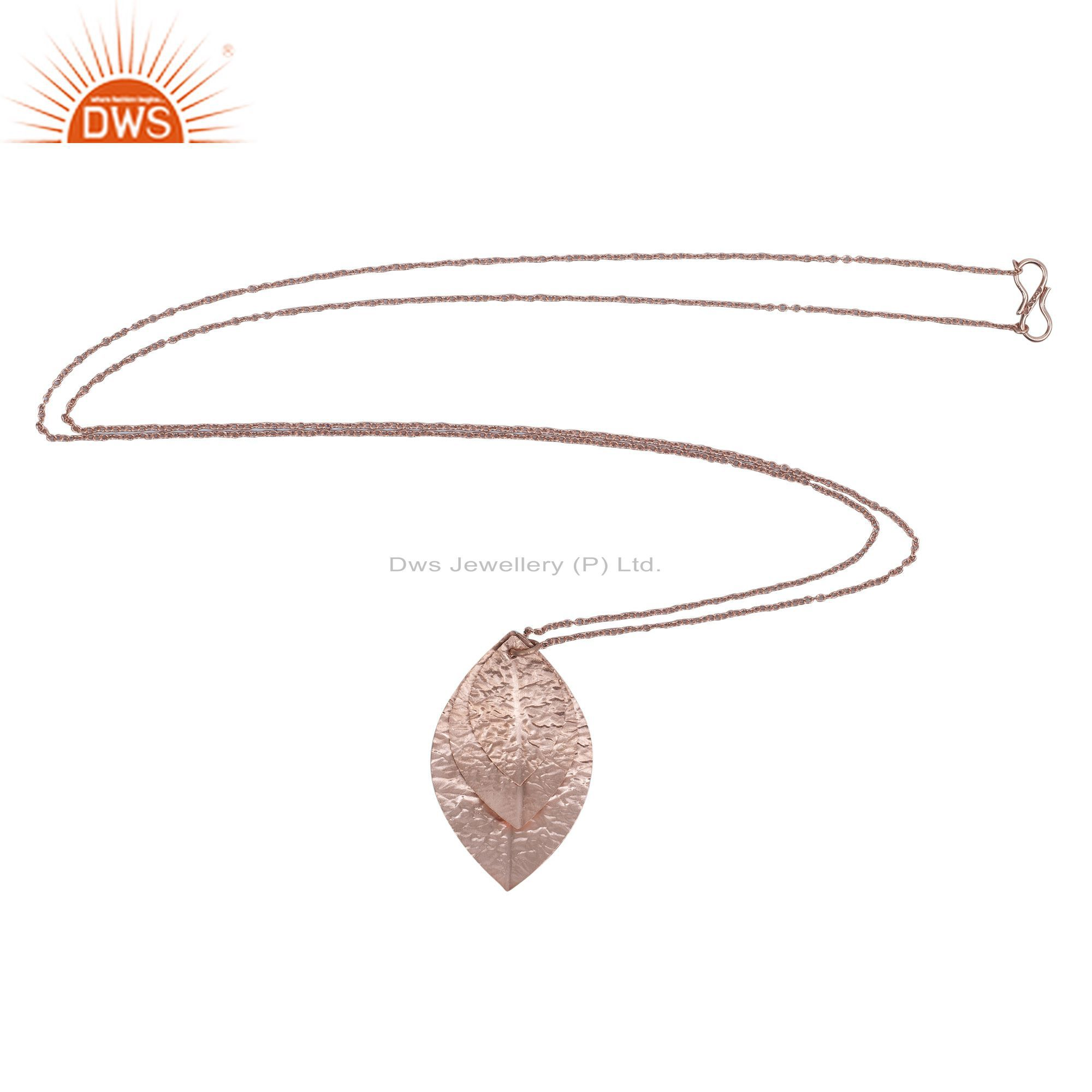 18K Rose Gold Plated Sterling Silver Three Petal Pendant With Chain