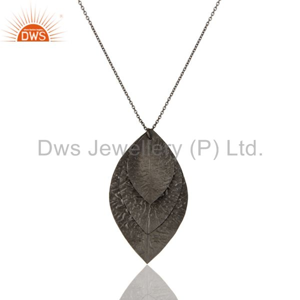 Handmade Solid Sterling Silver With Oxidized Three Petal Pendant With Chain