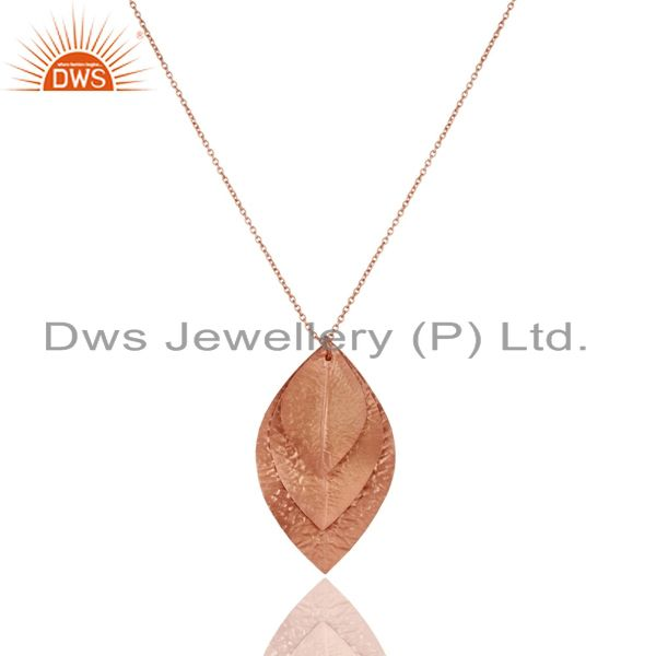 18k rose gold plated sterling silver handmade leaf pendant with chain
