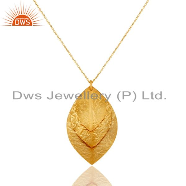 Indian Handcrafted 925 Sterling Silver 24k Yellow Gold Plated Pendant Necklace