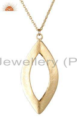 22k yellow gold plated sterling silver brushed marquise cutout pendant m/ chain