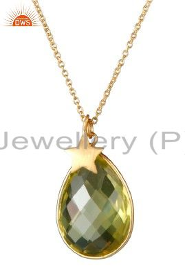 22K Gold Plated Sterling Silver Lemon Topaz Bezel Set Drop Pendant With Chain