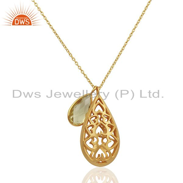 22K Gold Plated Sterling Silver Lemon Topaz Charms Filigree Pendant With Chain
