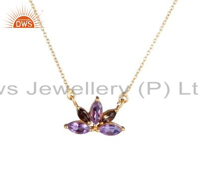 22K Gold Plated Sterling Silver Amethyst And Smoky Quartz Pendant With Chain